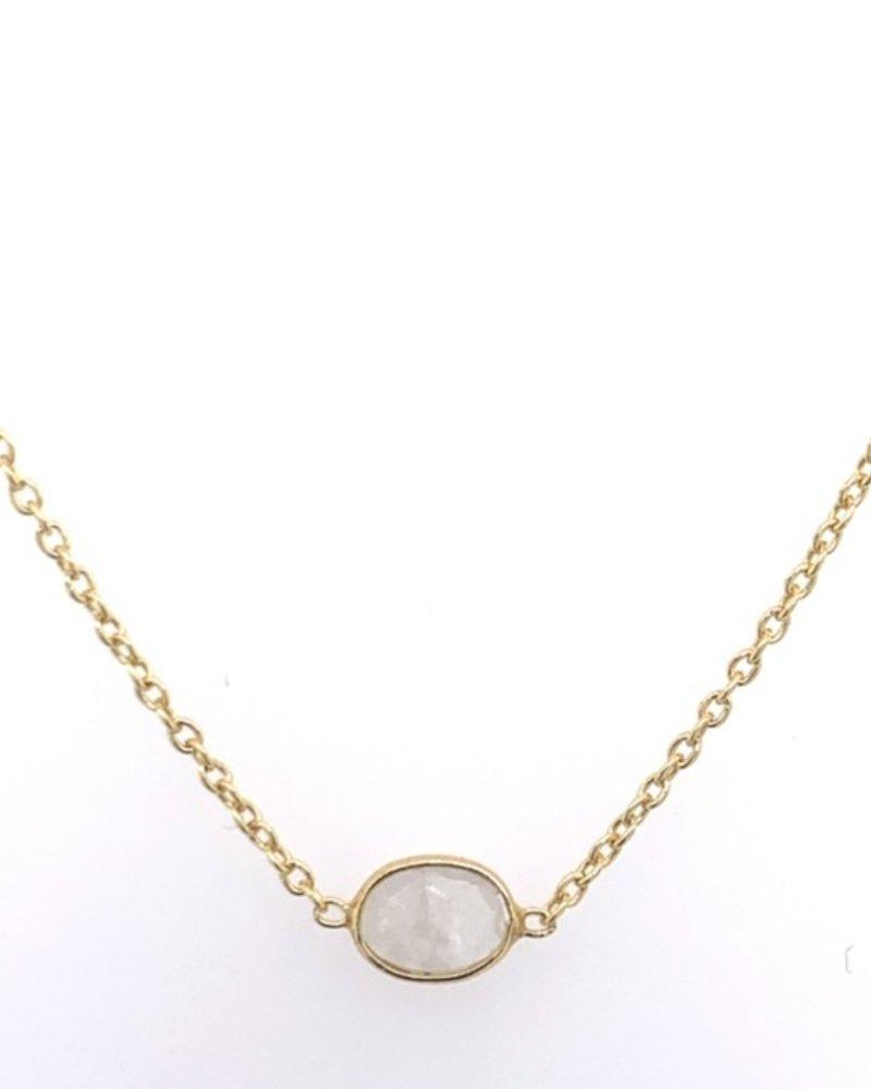 Muja Juma Halskette Mondstein oval vergoldet