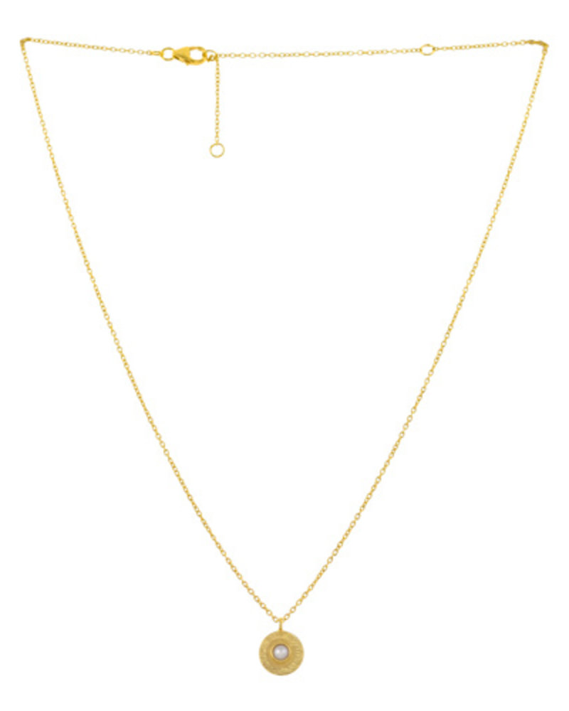 Muja Juma Necklace pearl coin gold plated