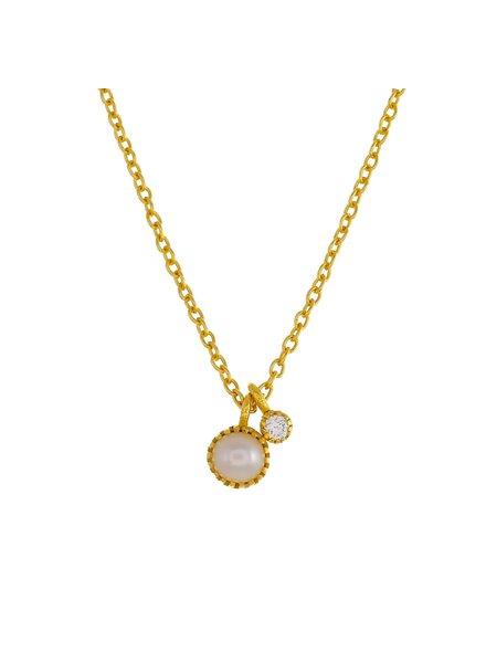 Muja Juma Halskette runder Perlen / Zirkonia Anhänger