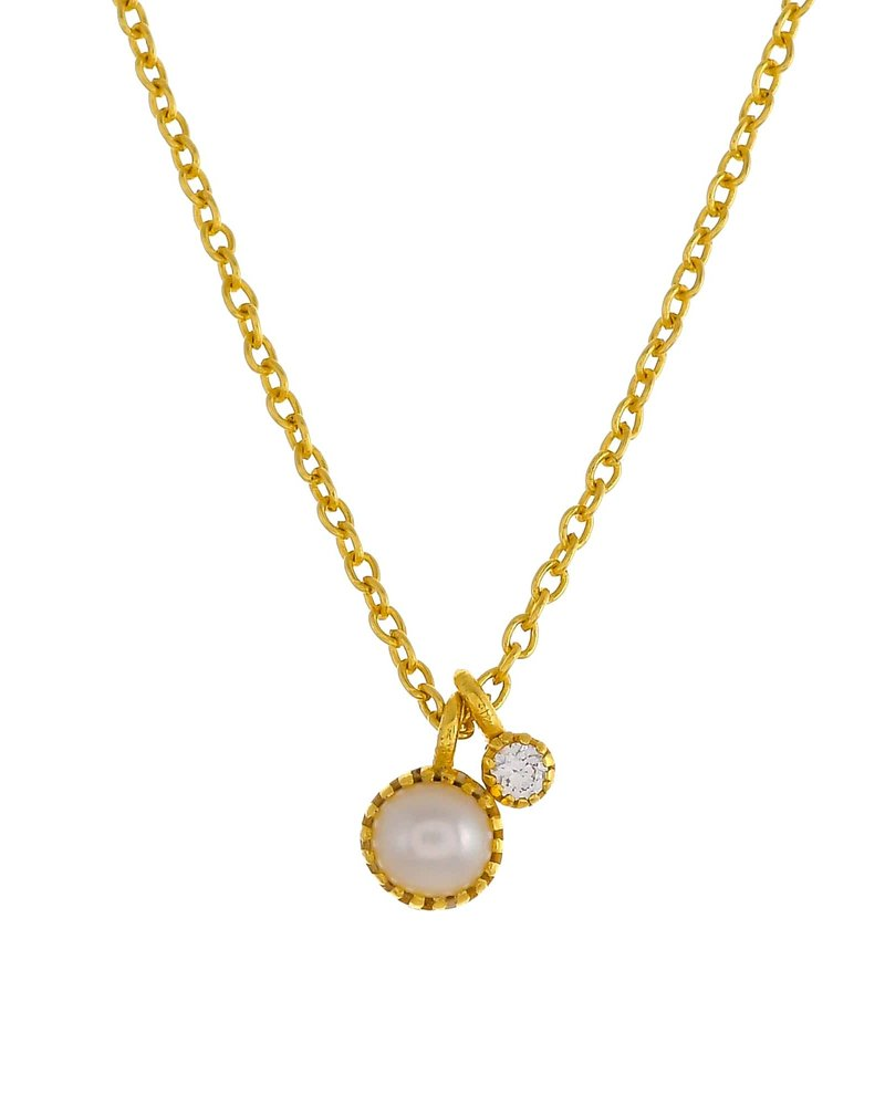 Muja Juma Necklace round pearl with 2mm zirconia pendant goldplated
