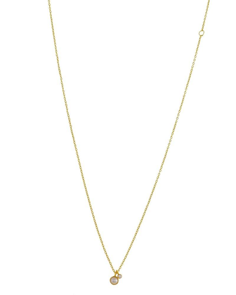 Muja Juma Halskette runde Perle mit 2mm Zirkonia Anhänger vergoldet