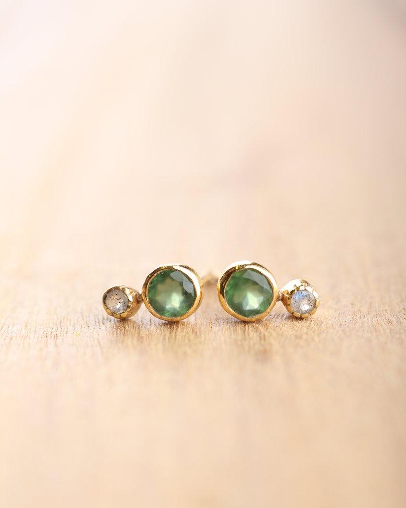 Muja Juma Earring stud nefrite/ labradorite gold plated