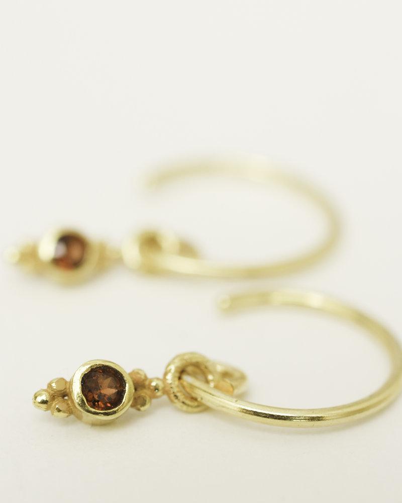 Muja Juma Ohrring Garnet 925 Sterlingsilber vergoldet
