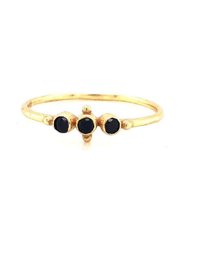 Muja Juma Ring onyx  vergoldet 925 Sterling Silber