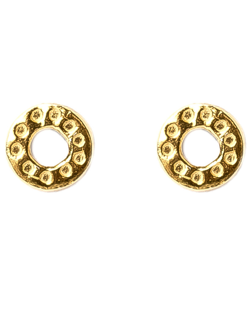 Muja Juma Earring hammered circle gold plated 925 sterling silver