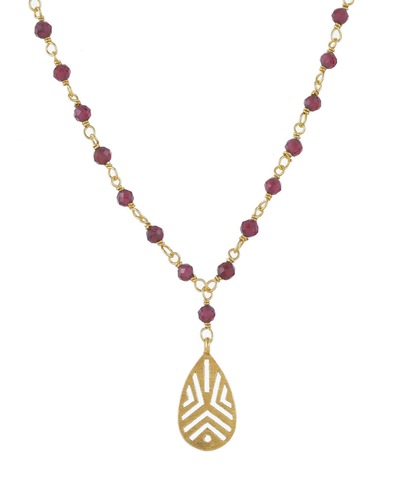 Muja Juma Collier Garnet beads with handcraft drop 925 sterling silver goldplated