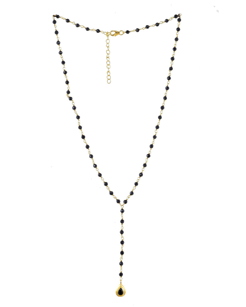 Muja Juma Collier Onyx beads with drop 925 sterling silver goldplated