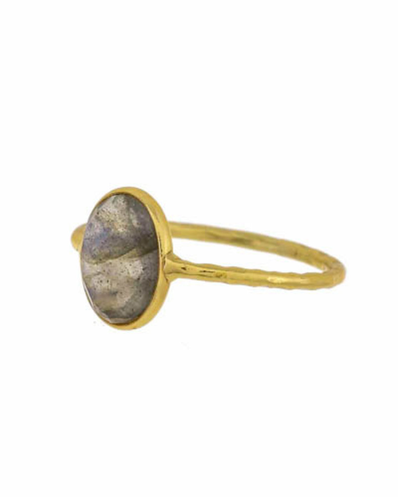 Muja Juma Ring  gold plated 925 sterling silver with Labradorite