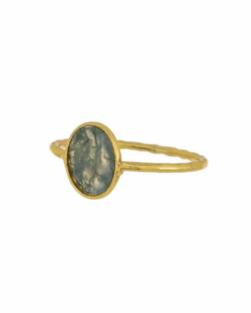 Muja Juma Ring vergoldetes 925er Sterlingsilber mit Moss agate
