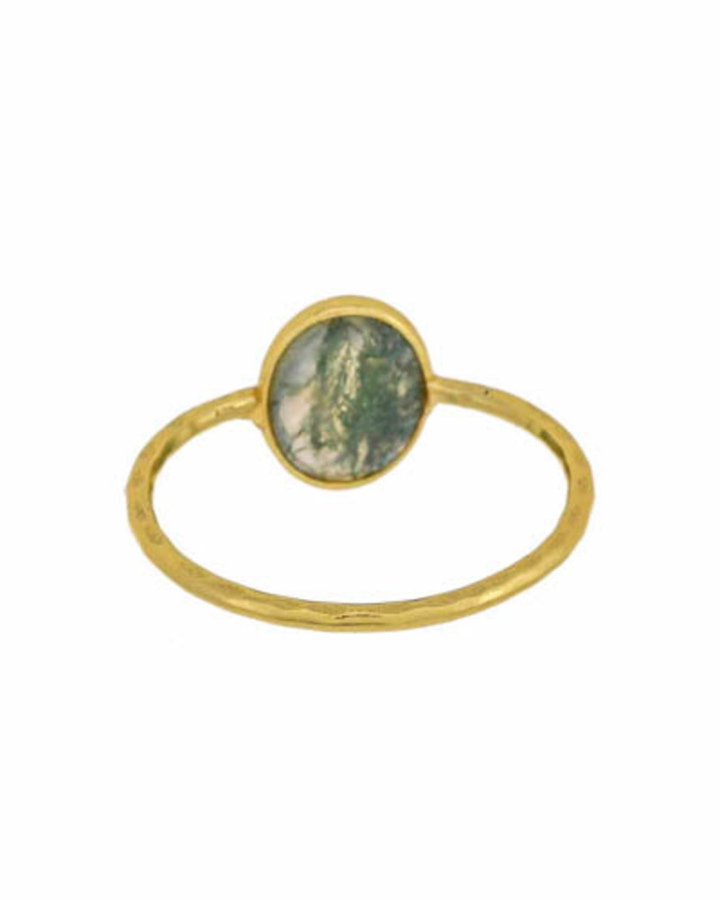 Muja Juma Ring  gold plated 925 sterling silver with Moss agate