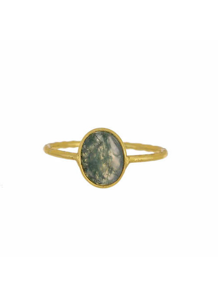Muja Juma Ring hammered oval Moss agate