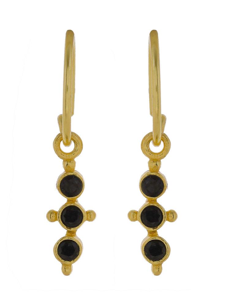 Muja Juma Onyx  vergoldeter Ohrring