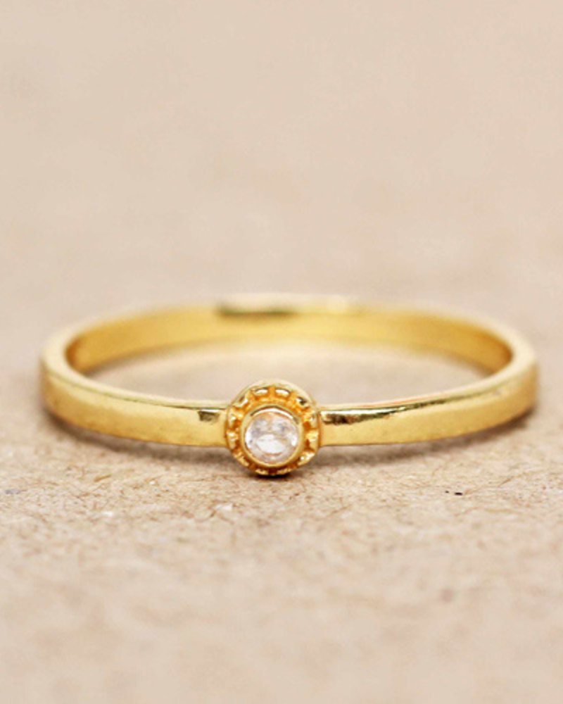 Muja Juma Ring gold plated 925 sterling silver with white Moonstone
