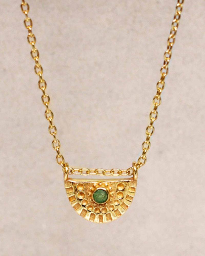 Muja Juma Necklace Nefrite half circle 925 sterling silver goldplated