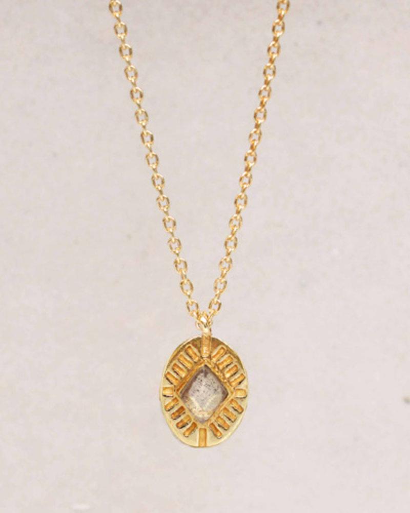 Muja Juma Halskette Diamant gestreifter Labradorit 925 Sterlingsilber vergoldet - Kopie