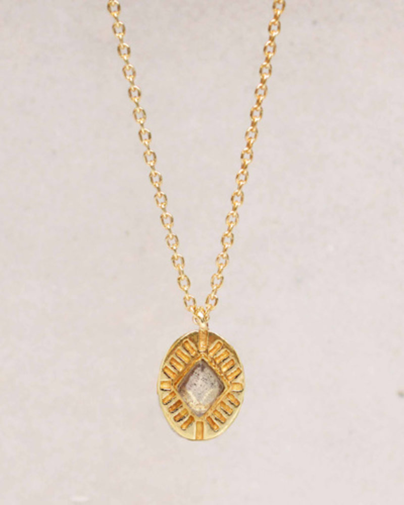 Muja Juma Necklace Diamond striped labradorite 925 sterling silver goldplated  - Copy