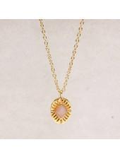 Muja Juma Necklace Diamond striped Peach Moonstone
