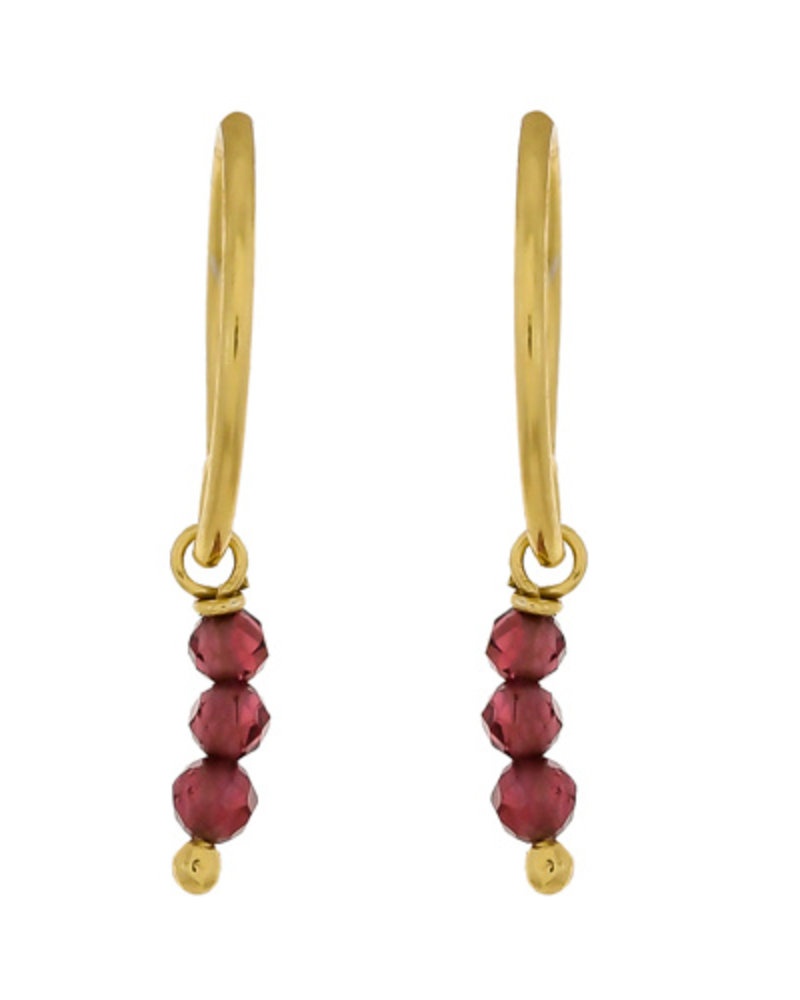 Muja Juma Earring Garnet gold plated 925 sterling silver - Copy