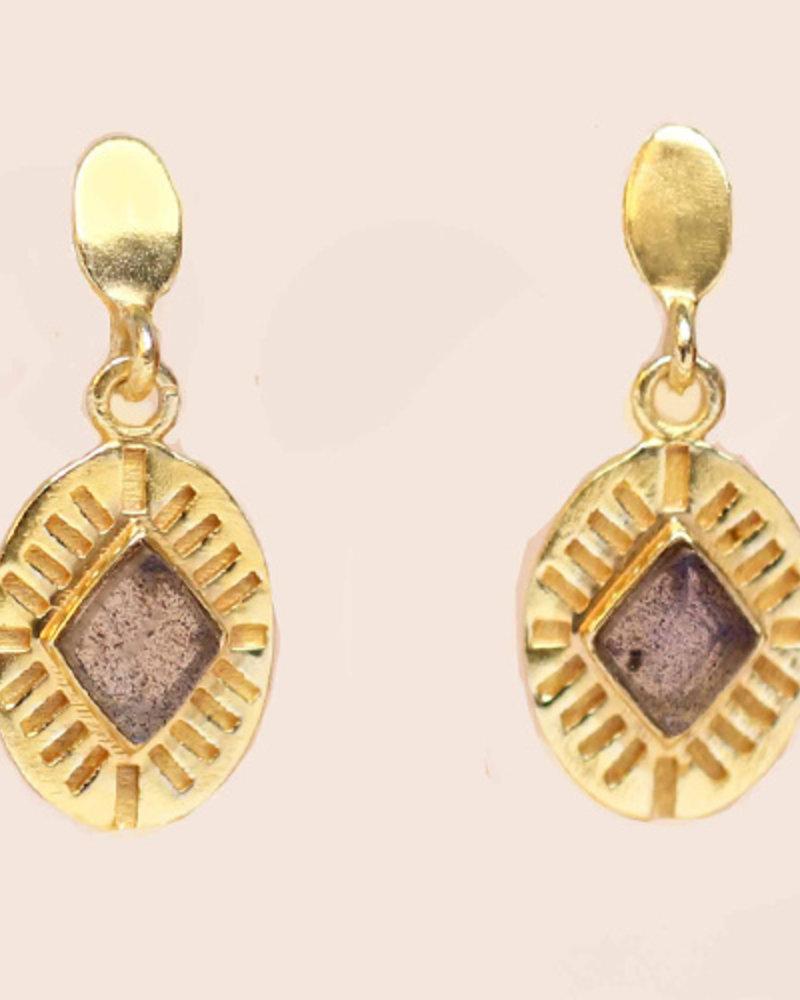 Muja Juma Earring Diamond Striped Labradorite gold plated
