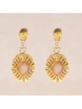 Muja Juma Earring Diamond Striped Peach Moonstone