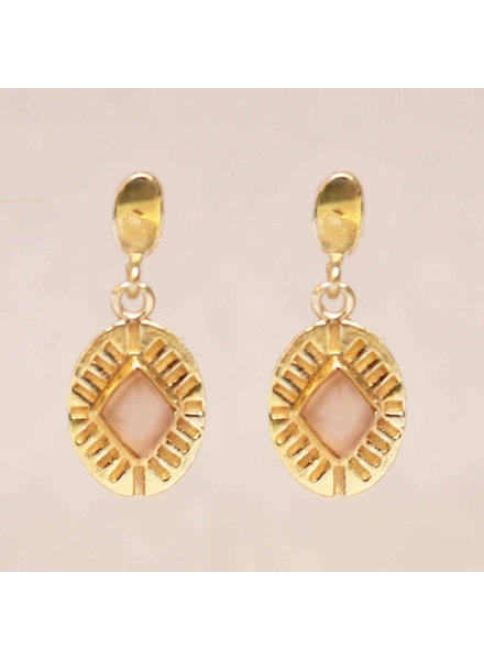 Muja Juma Earring Diamond Striped Peach Moonstone