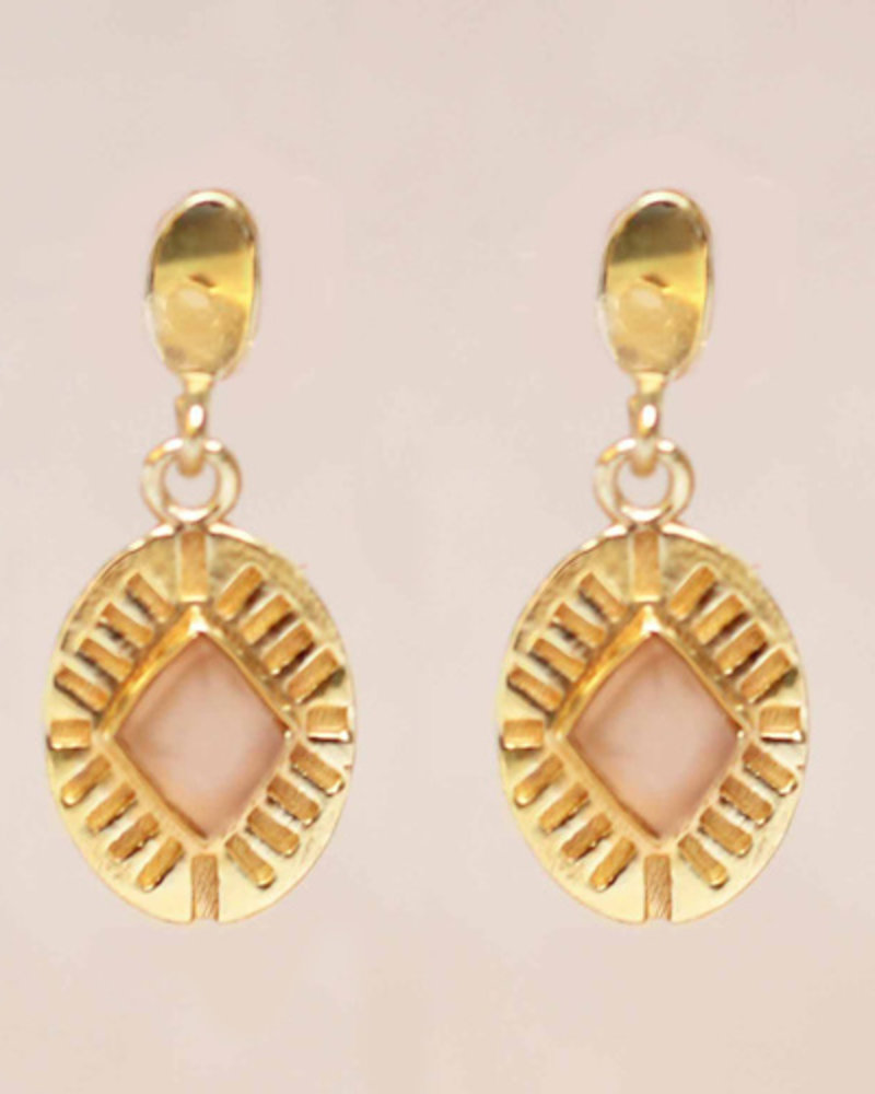 Muja Juma Earring Diamond Striped Peach Moonstone gold plated