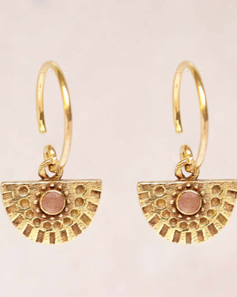 Earring Hanging Peach Moonstone Half Circle goldl plated