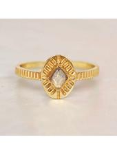 Muja Juma Ring Diamant gestreifter Labradorit