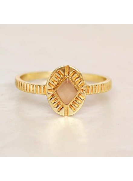 Muja Juma Ring Diamond Striped Peach Moonstone