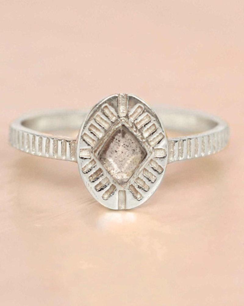 Muja Juma Ring Diamond Striped 925 Sterling Silver Labradorite