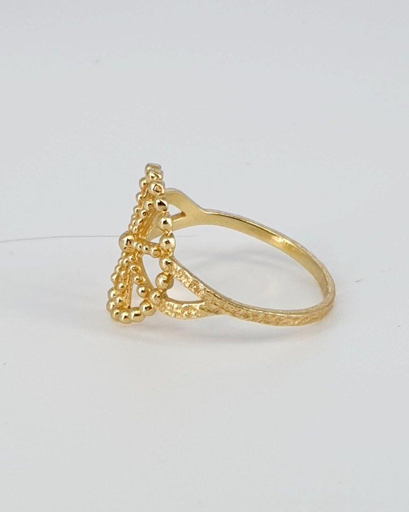 Ring Wheel Punkte vergoldet auf 925 Sterling Silber