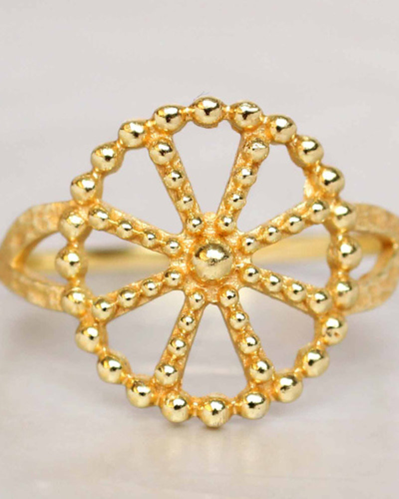 Ring Wheel dots gold plated on 925 Sterling Silver