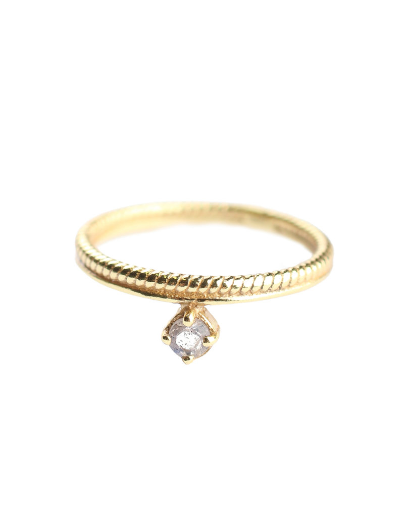 Ring double stacked Labradorite gold plated