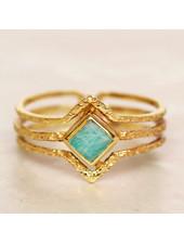 Muja Juma Ring Diamond three bands Amazonite