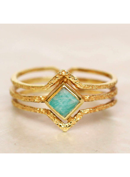 Muja Juma Ring Diamond three bands Amazonite