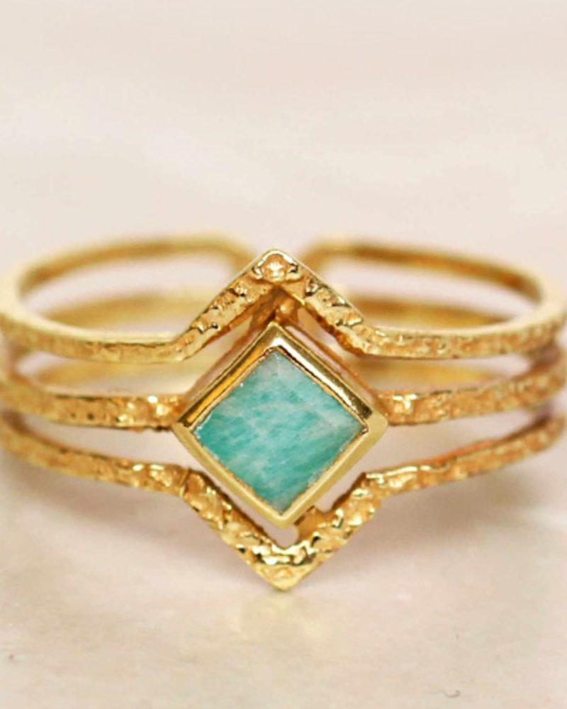 Muja Juma Ring Diamond three bands Amazonite gold plated