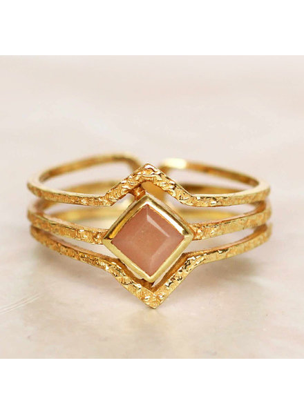 Muja Juma Ring Diamond three bands Peach Moonstone