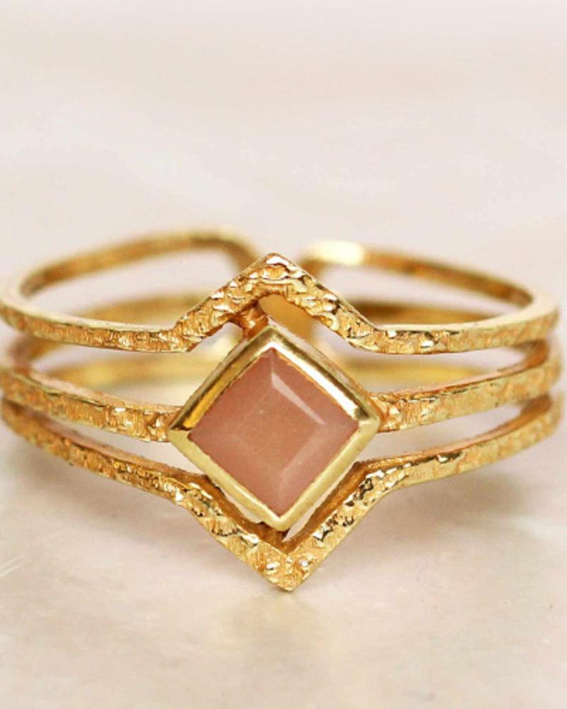 Muja Juma Ring Diamond drei Bänder Amazonite vergoldet - Copy