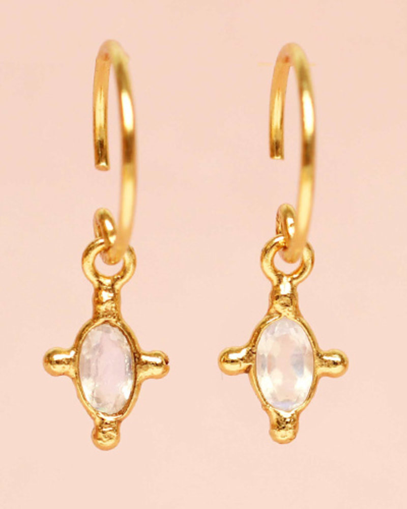 Muja Juma Earring Moonstone oval 925 sterling silver goldplated