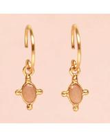 Muja Juma Earring Peach Moonstone oval and four si