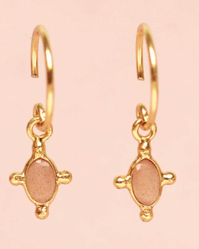 Muja Juma Earring Peach Moonstone oval 925 sterling silver goldplated