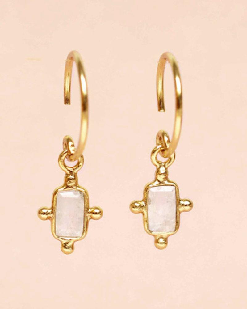 Muja Juma Ohrring moonstone dots oval 925 Sterlingsilber vergoldet