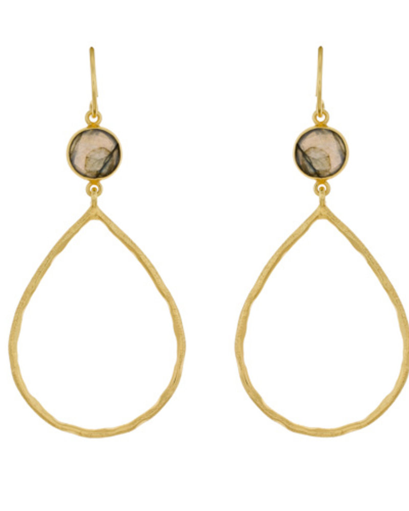 Muja Juma Fancy Earring  Labradorite 925 sterling silver goldplated Drop
