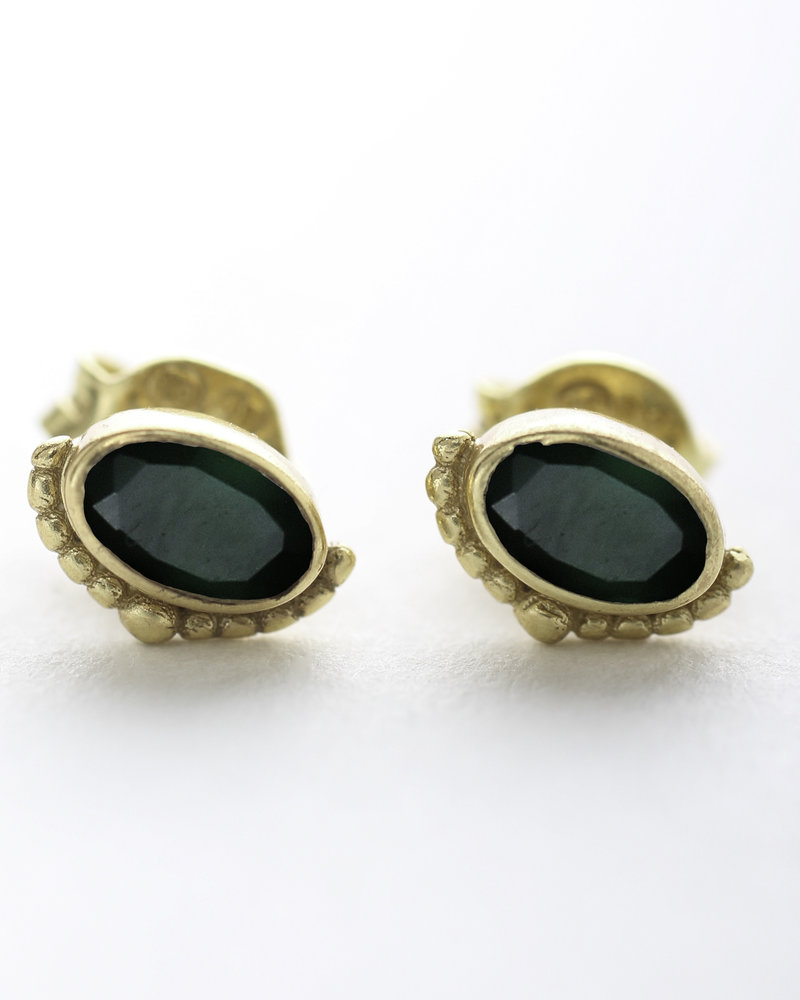 Muja Juma Earring Ertnic green zed stud 925 sterling silver goldplated