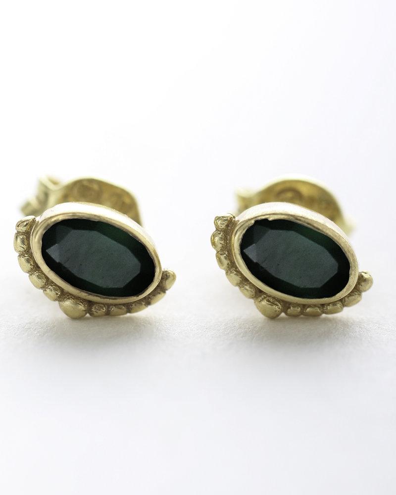 Muja Juma Earring Etnic green zed stud 925 sterling silver goldplated