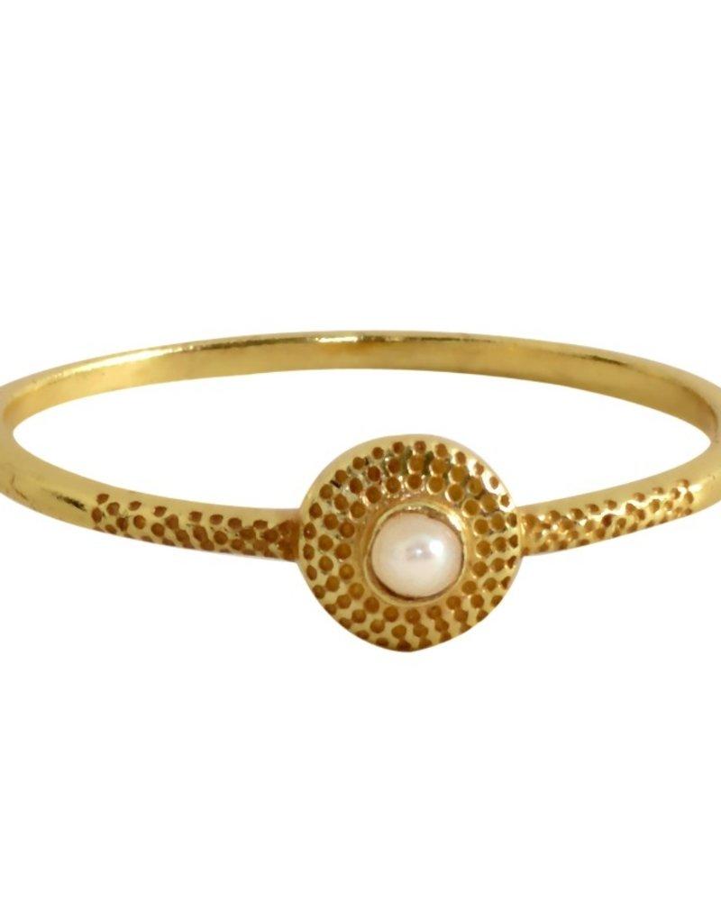 Muja Juma Ring vergoldetes 925er Sterlingsilber mit sweet water pearl