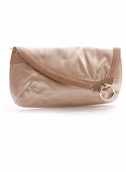 Jimmy Choo Jimmy Choo, beige satin clutch with brown suede border and golden hardware.
