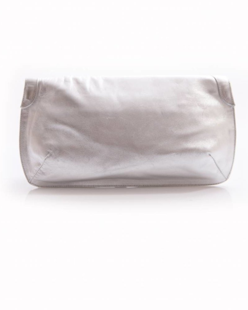 Jimmy Choo Jimmy choo, silver leather clutch with fringes.