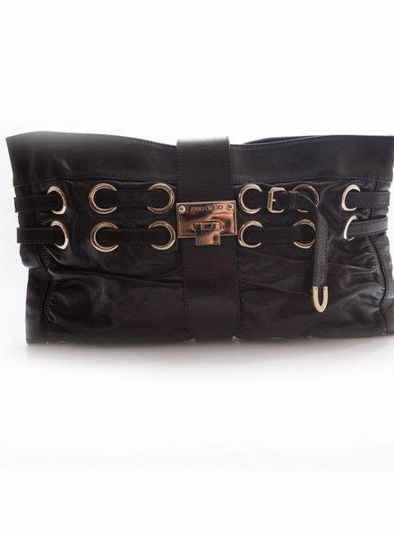 Jimmy Choo Jimmy Choo, black leather clutch bag with silver hardware.