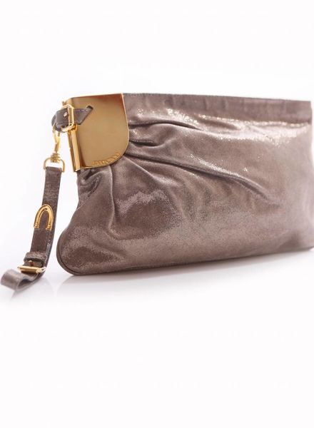 Jimmy Choo Jimmy Choo, gold coloured clutch with glitters and golden hardware.